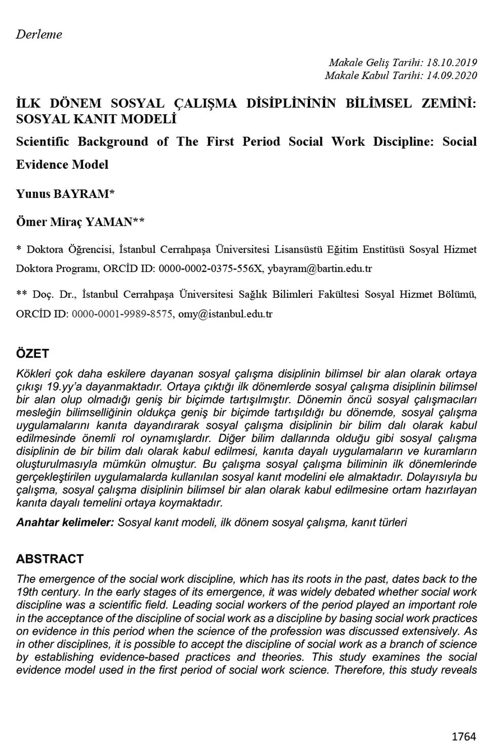 İlk Dönem Sosyal Çalışma Disiplininin Bilimsel Zemini: Sosyal Kanıt Modeli